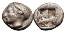 Ancient Coins - PHOCAEA IN IONIA, 510-494 B.C., Silver Diobol, Helmeted female. Incused square Archaic.