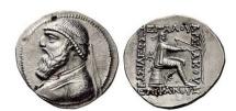 Ancient Coins - MITHRIDATES II, Seleucia, 120 BC. Silver Tetradrachm. Archer sitting on omphalus