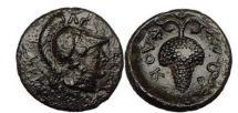 Ancient Coins - LOKRIS.OPUNTIA, 350 B.C.Bronze: Athena.  Grapes. Ex BCD Collection, NAC 55. RARE.