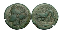 Ancient Coins - Thrace: Cardia, 305BC. Bronze. Persephone/Lion breaking spear. Very rare.