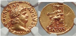 Ancient Coins - NERO 67 AD Rome 1910 Hirsh Pedigree  GOLD Aureus Coin NGC AU Boscoreale patina.