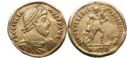 Ancient Coins - JULIAN II, Antioch, 361 AD. Gold Solidus.Soldier, Trophy, Captive.