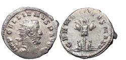 Ancient Coins - GALLIENUS, Lyons, 258 A.D.Silver Antoninianus:VICTORY over GERMANY. Rare.Superb