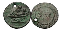 Ancient Coins - Tessera - Exotic Spintria, Time of Tiberius. Rome, 30 AD. XV. Extremely Rare.