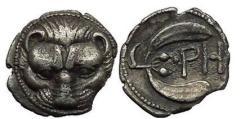 Ancient Coins - BRUTTIUM: RHEGION, 415 BC. Silver Litra. Lion's scalp.