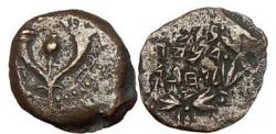 Ancient Coins - Ancient Jewish Bronze Prutah, Jerusalem, 97 B.C.,  High Priest Alexander Jannaeus.
