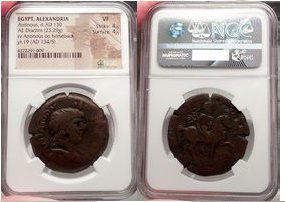 Ancient Coins - ANTINOUS lover of HADRIAN, Alexandria, 134 AD NGC Certified VF 4/5 4/5