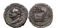 Ancient Coins - VESPASIAN, Rome, 77 AD. Silver Denarius. Prow, star above. Very Rare.