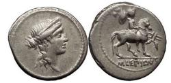 Ancient Coins - M. AEMILIUS LEPIDUS,  Rome. 61 B.C.  Silver Denarius.  Female head. Equestrian statue. NGC Ch XF. 5/5. 4/5.