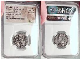 Ancient Coins - TARSUS in CILICIA 370 BC Satrap Tarkumuwa (Datames)  - NGC AU
