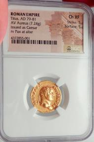Ancient Coins - TITUS Superb 73 AD Rome Authentic Ancient Roman Gold Coin NGC Certified Ch XF