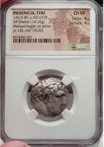Ancient Coins - TYRE Shekel Biblical Greek Coin Jesus Betrayal Judas 30 Pieces Silver NGC Ch VF