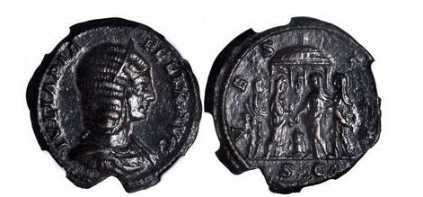 Ancient Coins - JULIA DOMNA 193 AD Vestal Virgin Priestesses at Temple  NGC AU