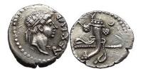 Ancient Coins - JUBA II, Caesarea, King of Mauretania 11AD Silver Denarius Cornucopia, crescent