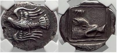 Ancient Coins - LYTTOS in CRETE Rare 320 BC Silver Stater  EAGLE BOAR NGC Ch VF