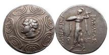 Ancient Coins - ANTIGONOS GONATAS, Pella, 265 B.C., Silver Tetradrachm: King as god PAN / ATHENA