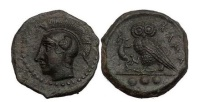 Ancient Coins - SICILY: KAMARINA, 410 BC. Owl. lizard. Absolute Masterpiece!