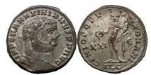 Ancient Coins - MAXIMIAN, 296 A.D.,Alexandria.Follis.Full silvering.Genius of Roman People. Superb.