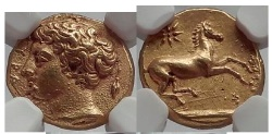 Ancient Coins - SYRACUSE in SICILY 405BC Gold 50 Litrae Authentic Ancient Greek Coin NGC MS