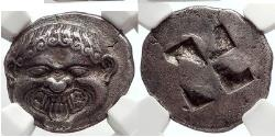 Ancient Coins - NEAPOLIS in MACEDONIA Archaic Ancient 500 BC Silver Stater  GORGONEION