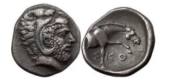 Ancient Coins - THESSALY, Skotussa, 394 BC. Silver Hemidrachm. Heakles. Forepart of horse.