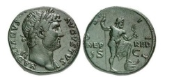Ancient Coins - HADRIAN, Rome, 125 AD. Bronze Sestertius - medallic style. Neptune with trident. Rare and Splendid.