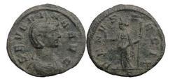Ancient Coins - SEVERINA, Rome, 275 A.D, Billon Denarius. Venus holding seated figure.