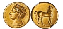 Ancient Coins - CARTHAGE Zeugitania Electrum Stater 310BC Tanit Horse RARE NGC Certified: Choice EF. 5/5; 3/5.