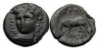 Ancient Coins - THESSALY - LARISSA, 400 B.C, Bronze Dichalkon. Head of Larissa/Horse, double-ax.