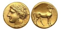 Ancient Coins - CARTHAGE Zeugitania Electrum Stater 290 B.C. Tanit Horse  RARE NGC AU, 5/5; 4/5. Artistic style.