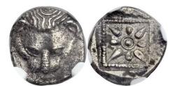 Ancient Coins - CIMMERIAN BOSPOROS. Panticapaeum 460BC NGC Certified AU Silver Greek Coin RARE