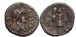 Ancient Coins - Marc Brutus - prime assasin of Julius Caesar. 43 B.C.  AR denarius.  Ex.Christie's