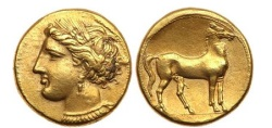 Ancient Coins - CARTHAGE Zeugitania Electrum Stater 290 B.C. Tanit Horse  RARE NGC AU, 5/5; 4/5. Artistic style.