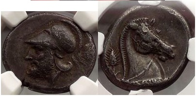 Ancient Coins - Anonymous Didrachm, Neapolis, c.340 BC. 1st Coin of the Roman Republic.Very Rare. NGC Certified: Ch VF 5/5 3/5 Fine Style