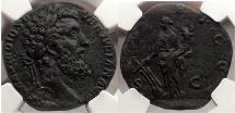Ancient Coins - DIDIUS JULIANUS, Rome, 193 AD. Bronze Sestertius. Fortune. NGC Certified: Choice XF , 4/5; 4/5 Very Rare.