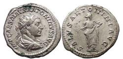 Ancient Coins - ELAGABALUS.  Rome, 218 A.D. Silver Antoninianus, SALVS  standing right.