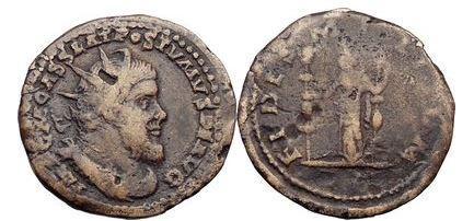 Ancient Coins - POSTUMUS, Trier, 261 A.D.  Bronze Double-Sestertius. FIDES.