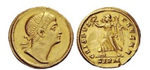 Ancient Coins - Crispus 325 A.D. EXTREMELY RARE PEDIGREED Gold Solidus