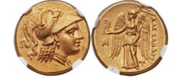 Ancient Coins - ALEXANDER the GREAT 323BC Ancient GOLD NGC Certified Ch AU* FINE STYLE 5/5,5/5