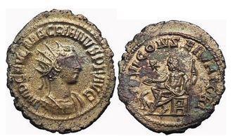 Ancient Coins - MACRIANUS, Billon Antoninianus, Antioch, 260 A.D. Emperor/ Jupiter seating. RARE.