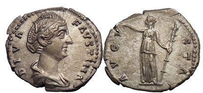 Ancient Coins - FAUSTINA I, Silver Denarius, Rome 147 AD. Ceres. Fantastic quality!