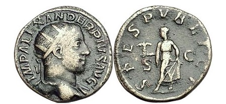 Ancient Coins - SEVERUS ALEXANDER, Rome, 232 A.D. Bronze As. Spes holding flower, raising skirt.