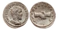 Ancient Coins - PUPIENUS, Rome, 238 AD.Silver Denarius. Clasped Hands. Very Rare and Superb.