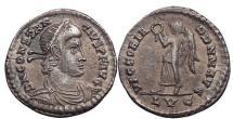 Ancient Coins - CONSTANTIUS II, Lyons, 353 AD.Silver light siliqua: Victory w. wreath. Superb