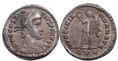 Ancient Coins - CONSTANTIUS II, Lyons, 353 AD.Silver light siliqua: Victory w. wreath. Superb
