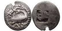 Ancient Coins - MACEDONIA: EION, c.5th B.C. Cent. Silver Trihemiobol. Goose, Lizard. Rare.