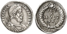 Ancient Coins - JULIAN II, Arles, 363 AD. Silver Siliqua. Legends within wreath. Rare.