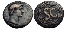 Ancient Coins - CLAUDIUS, Pisidia: Antioch, Bronze, 41-54 A.D.    SC in wreath.
