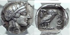 Ancient Coins - ATHENS Attica 440BC Silver Tetradrachm ATHENA OWL NGC Certified: Choice XF