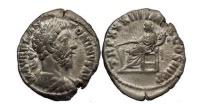 Ancient Coins - MARCUS AURELIUS, Rome, 179 AD. Silver Denarius. Fortune. Artistic portrait.